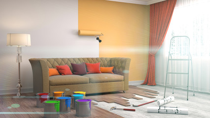 Repair and painting of walls in room. 3D illustration.