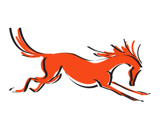 Hand drawing with black line silhouette galloping red color horse. Vector cartoon Japanese style illustrtion.
