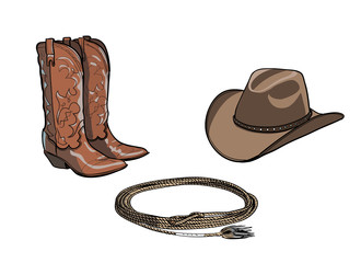 Cowboy horse equine riding tack tool. Western boot, hat, lasso rope. Hand drawing cartoon vector illustration.