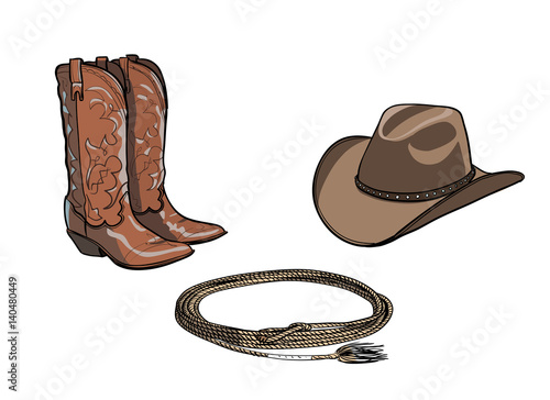 Cowboy Hat And Boots And Rope Drawing | www.pixshark.com ...