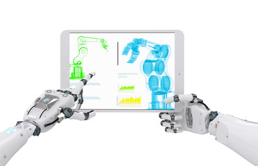 robotic hand working with digital tablet