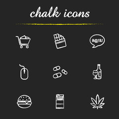 Addictions chalk icons set