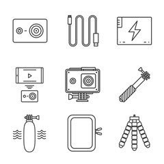 Action camera linear icons set