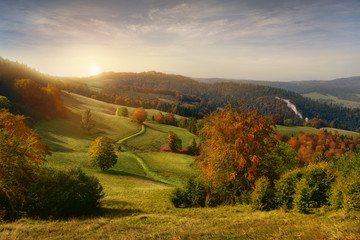 Wall Mural - Beautiful view of sunrise in Pieniny mountains