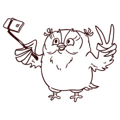 Owl hipster with glasses makes selfie on phone. Line draw, hand-drawn contour on a white background for children coloring.