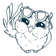 Owl in sunglasses. Line draw, hand-drawn contour on a white background for children coloring.