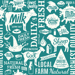Retro styled typographic vector milk product seamless pattern or background
