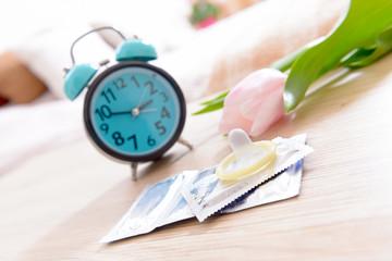 Birth control condoms and clock