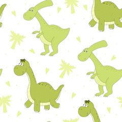 Cute seamless pattern with funny dinosaurs. vector illustration.