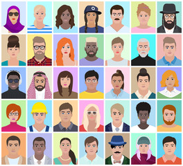 Portraits of different people, vector illustration