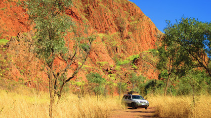 Driving 4 wheel drive in the outback of western australia off road in the bush land