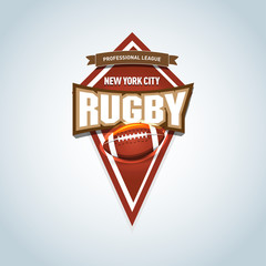 Rugby Logo, American Logo Sport. Vector rugby league logo with ball. Sport badge for tournament championship or league. Isolated vector illustration.