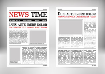 Vintage vector newspaper. Journal template. Old paper tabloid on newsprint. Reportage information illustration. Retro vertical background with text and space for images.