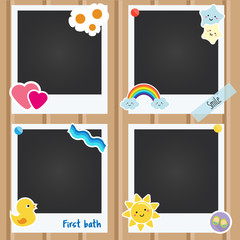 Vector realistic photo frames for children, newborn, baby albums. Template for applications, scrapbook and design decorated with cute stickers