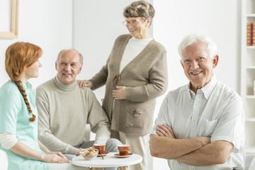 Man at retirement club