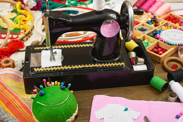 sewing accessories top view, seamstress workplace, many object for needlework, embroidery and handicraft