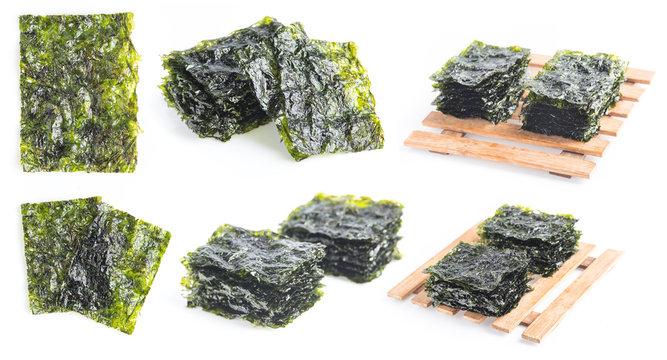 Japanese food nori dry seaweed sheets on white background