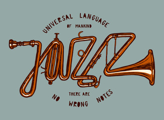 Wall Mural - jazz word made of trumpet vintage print