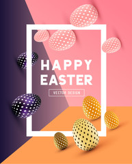An abstract Easter Design with 3D effects and room for promotion / holiday messages.Vector illustration