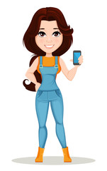 Farmer girl dressed in work jumpsuit. Cute cartoon character holding smartphone. Can be used for animation, as design element and in any farm related project. Dismantled over the layers. Vector