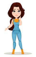 Farmer girl dressed in work jumpsuit. Cute cartoon character crying, upset. Can be used for animation, as design element and in any farm related project. Dismantled over the layers. Vector