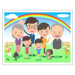 三世代 家族の記念写真 虹背景