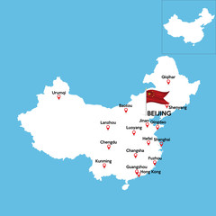 A detailed map of China with indexes of major cities of the country. National flag of the state. Vector illustration.