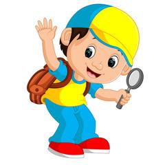 boy holding magnifying glass cartoon