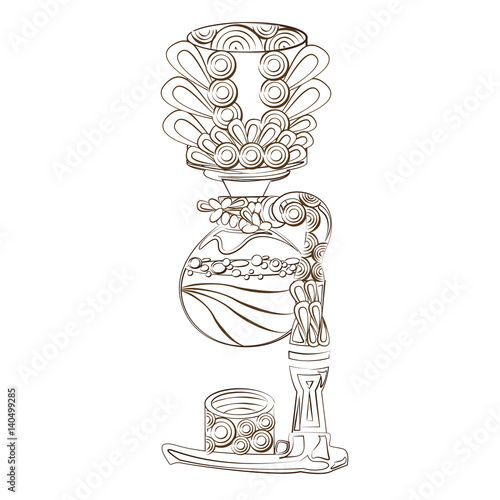 Line Art Design Coloring Page Siphon Coffee Maker Coffee Stock