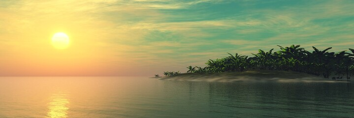 Beautiful sea sunset over a tropical island, light over a tropical beach, palm trees above the water  Wall mural