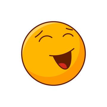 Emoticon smiling. Vector editable happy emoji