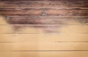 Sea sand on wooden floor,Top view with copy space