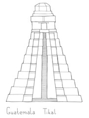 Hand drawn architecture sketch illustration of Guatemala Tikal Mayan pyramid with lettering vector