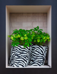 Flowers in striped black and white pots, similar to a zebra, stand in a black and white frame, in the background a brick wall under the cloth. Flowers vase design. Flower concept.