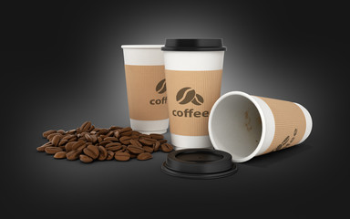 Paper coffee cup with coffee beans on black gradient background 3d