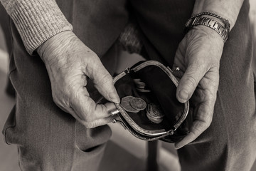 Elderly lady's hands checking money in her purse.