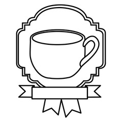 silhouette border heraldic decorative ribbon with cup with handle vector illustration