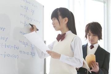 Teenage Girl Writing on Whiteboard