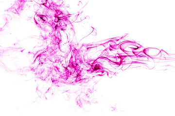 Wall Mural - pink smoke on white background. abstract art
