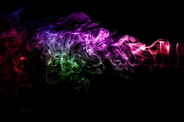 Fototapete - colorful smoke on black background