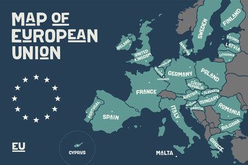 Poster map of the European Union with country names and capitals. Print map of EU for web and polygraphy, on business, economic, political, Brexit and geography themes. Vector Illustration