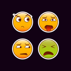 Set of emojis. Bad mood stickers. Editable vector funny emoticons