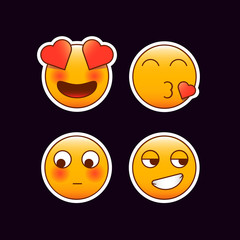 Set of Romantic emoji stickers. In love, Heart shaped kiss, shy, flirty smile emoticons. Editable vectors