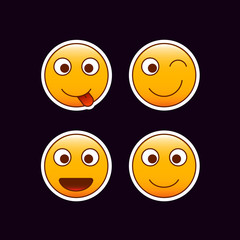 Set of emoticon stickers. Happy mood emojis. Editable vector positive smileys