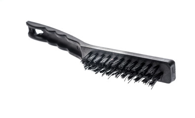 Black industrial metal wire brush scraper isolated on white background.