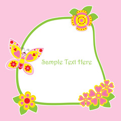 Spring card with cute butterfly and flowers frame suitable for Spring postcard, wallpaper, and greeting card