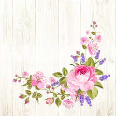 Blooming spring flowers garland of purple roses, sakura and lavender over wooden background. Vector illustration.