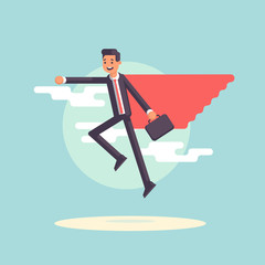 Super businessman in a red cape with suitcase flying on clouds background. Smiling employee superhero floating in the sky. Vector flat illustration. Business concept success and professional