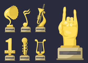 Gold rock star trophy music notes best entertainment win achievement clef and sound shiny golden melody success prize pedestal victory vector illustration.