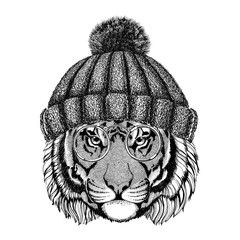 Wild tiger wearing vintage glasses and knitted hat Hipster animal Picture for tattoo, logo, emblem, badge design